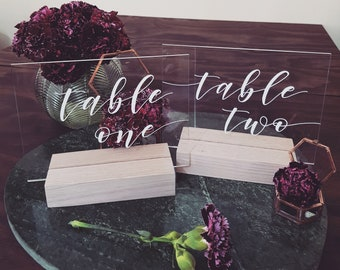 Wedding Table Numbers, Wedding Signs, Acrylic Signs, Bridal Table, Wedding Decor, Calligraphy Table Numbers