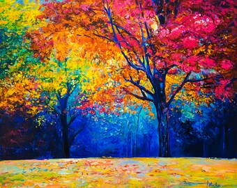 Landscape Painting Canvas Art Abstract Art Autumn Park Large Oil Painting Wall Art Canvas Painting Abstract Painting Large Wall Art