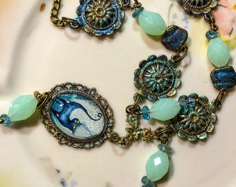 Fairytale necklace with cat illustration