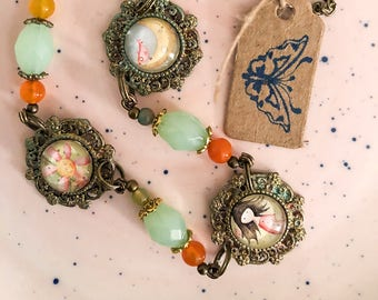 Fairytale necklace with illustrations
