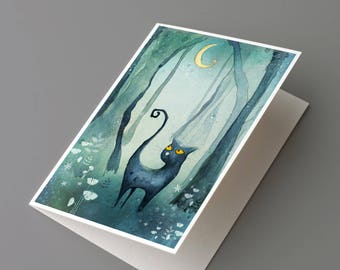 Cat in the forest – greeting card