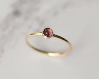 Pink tourmaline ring - 9k gold stacking ring -  tourmaline stacking ring - gold skinny ring