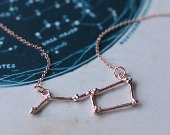 Ursa Major Constellation Necklace - Big Dipper Pendant - Rose Gold - Celestial jewellery
