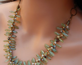 REDUCED: Czech Glass Spike Necklace, czech spiked beads necklace, beaded drop necklace, boho jewelry, boho beaded spike necklace