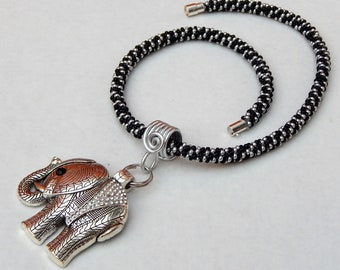 Black and Silver Elephant Beaded Necklace, Elephant Jewelry, Creature jewelry, Animal Jewelry, Good Luck Elephant Necklace, Elephant pendant