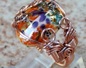Colorful Rose Gold Wire-Wrapped Ring, Rose Gold Wire Wrapped Cab Ring, Glass Cab Rose Gold Wire Ring, Spring glass cab rose gold wire ring