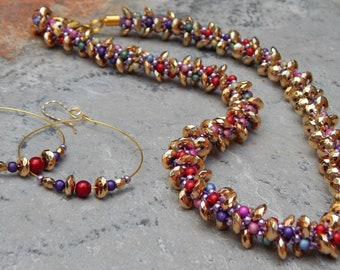 Gold multi-colored necklace and earrings, rainbow necklace and earrings, gold beaded colorful necklace set, elegant ooak necklace set