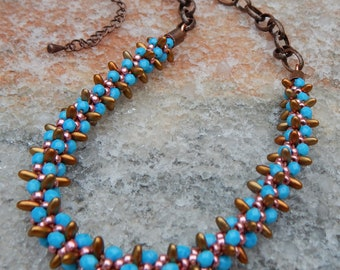 REDUCED: Turquoise Spiked Bronze Necklace, glass beaded boho necklace, blue beaded bronze necklace, spiked beaded bronze necklace with chain