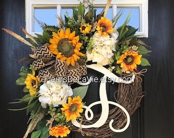Front Door Wreaths, Summer Door Wreaths, Sunflower Wreaths, Fall Door  Wreaths, Grapevine Wreath, Burlap Door Wreaths, Wreaths