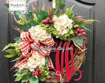 Christmas Wreath for Front Door, Christmas Wreath, Front Door Wreath, Grapevine Door Wreath, Christmas Wreaths, House Warming Gift