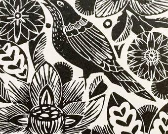 Spring Lino cut print