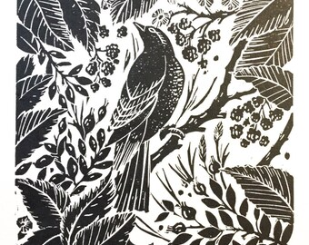 The Forager original lino cut print black