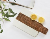White Marble & Acacia Wood Serving Tray Sm / 12 Patterns