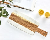 White Marble & Acacia Wood Serving Tray Lg / 12 Patterns