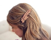 Red Feather // Wood Hair Clip // Laser Cut