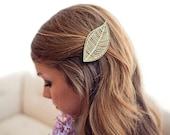 Mint Geometric Leaf // Wood Hair Clip // Laser Cut
