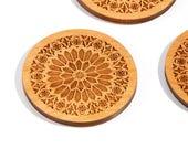 Rose Window Natural / Alder Wood Coaster Set