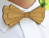 Wooden Intricate Laser Cut Bow Tie - Handsome Mens Gift from Alder Wood