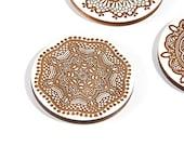 Bohemian / White Maple Wood Coaster Set