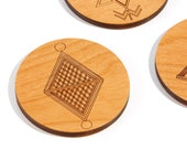 Indian Tribal / Alder Wood Coaster Set