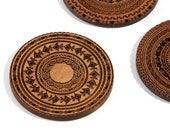 Walnut Tribal / Walnut Wood Coaster Set