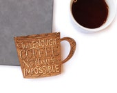 With Coffee / Wood Greeting Card