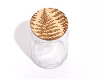 Fern / Wood Lid Glass Jar