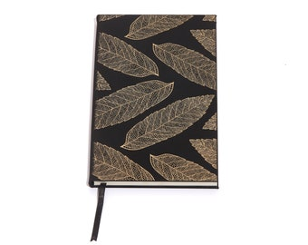 Leaves / Black & Gray Faux Leather Journal