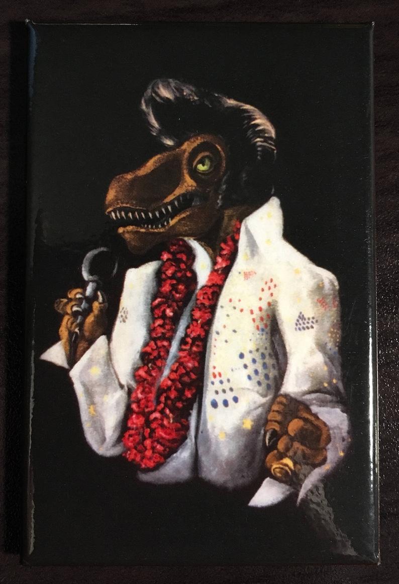 Dino Elvis Black Velvet Fridge Magnet image 0