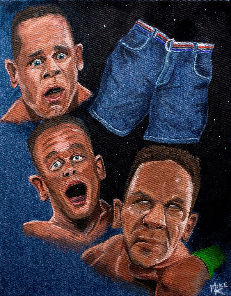 The Passion and Jorts of John Cena  WWE denim canvas painting image 0