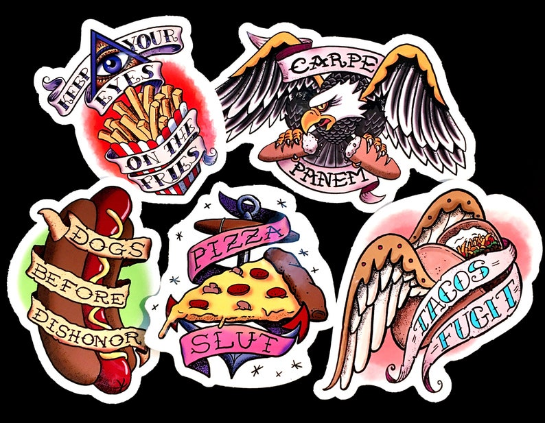 Fast Food Die-Cut Old-School Tattoo Sticker Full Meal Deal image 0