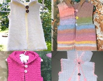 Vest with Matching Hat, Kids Vests, Children's Vest, School Vests, Girls School Vests, Hoodies