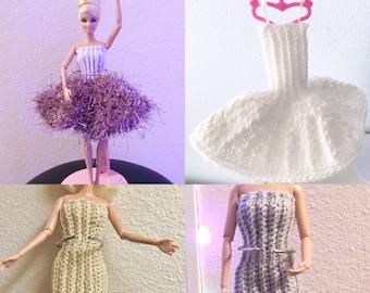 Barbie Dresses, Silver Barbie Dress, Barbie Clothes, Barbie Fashions, Doll Clothes, Gold Evening Barbie Dress, Barbie Style, Shoebox Gift