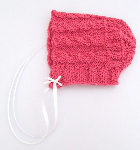 65f26f727e6f Pink Baby Bonnet Knit Pink Baby Bonnet Pink Baby Hat Pink