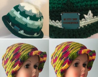 Girls Green Hat, Girls Colorful Hat, Green Rolled Brim Hat, Bright Colored Hat, Green and White Winter Hat, Colorful Ruffled Brim Hat