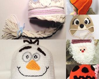 Character Hats, Queen Elsa Hat, Elsa Hat With Braid, Frozen Hat, Pumpkin Hats, Clarisse Reindeer Hat, Olaf Hat