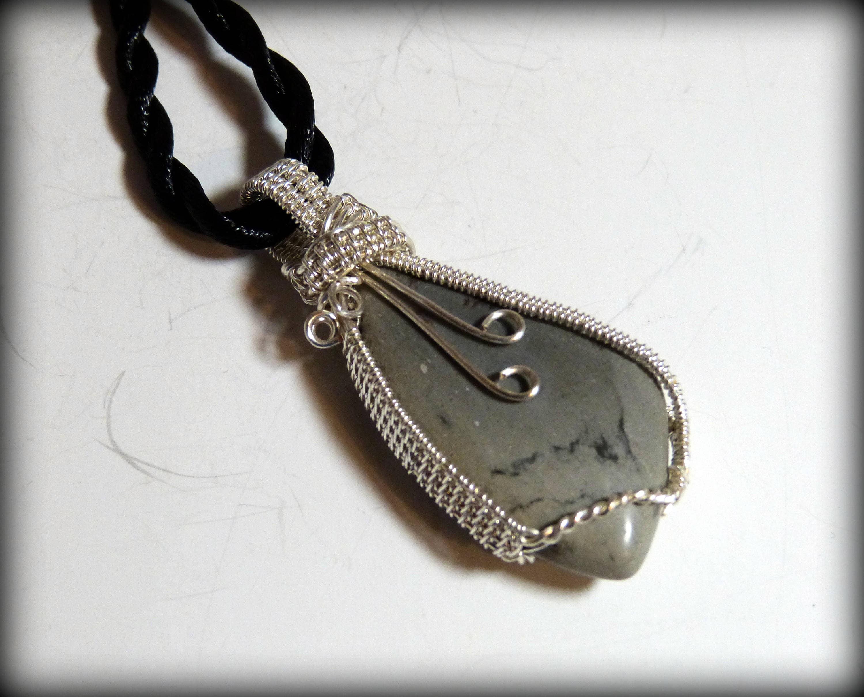 Wire wrapped picasso jasper pendant