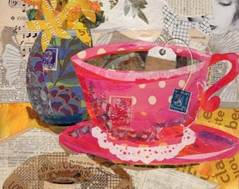 teacup collage 12 x 12 print