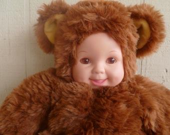 Rare Vintage Mini Baby Teddy Bear Plush Doll Boy Brown Fur Old Art Cute Toy Anne Dolls & Bears Dolls