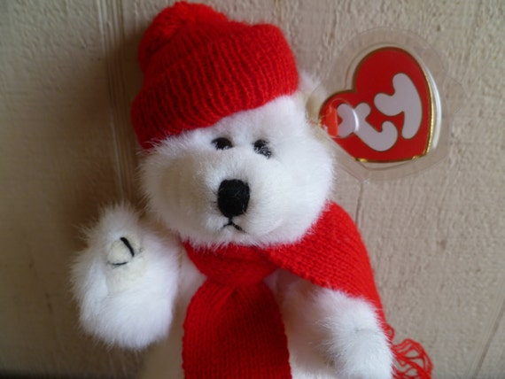 TY Beanie Babies Plush Christmas Bear Peppermint  e0b7ac8ea7f
