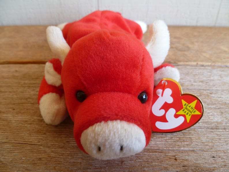 1898d4ff1f6 Rare TY Beanie Baby Snort Bull With Tags