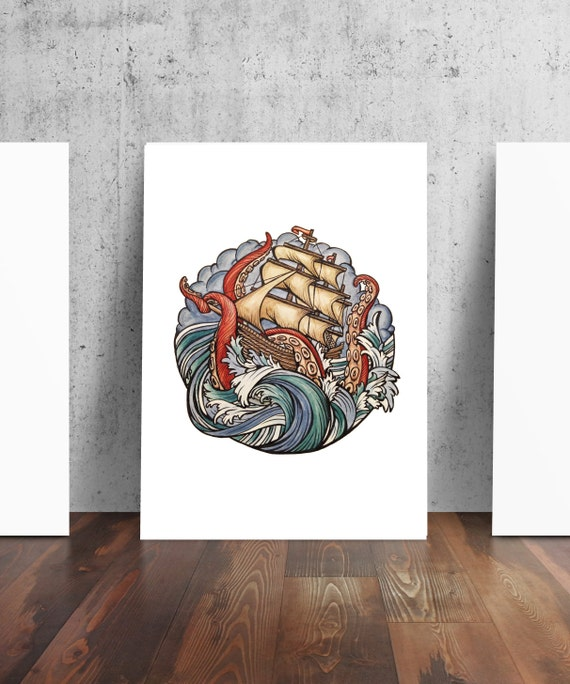 Abandon Ship Kraken Pirate Ship Tattoo Art Print | Etsy