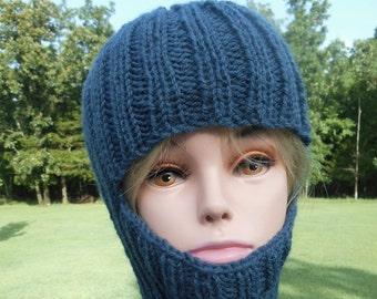 Darker blue Adult Balaclava, Ski Mask, Denim Blue, Full Face Coverage, winter beanie hat