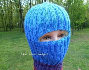 a3bbfba308f Striped balaclava. Ski Mask. Hand knit with wool acrylic blend yarn.  Graduated color changes in rose