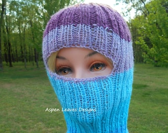 45ef5737d3e Striped balaclava. Ski Mask. Hand knit with wool acrylic blend yarn.  Graduated color changes in blues and purple.