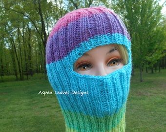 e629ec43ab0 Striped balaclava. Ski Mask. Hand knit with wool acrylic blend yarn.  Graduated color changes in light green and blue and pink.
