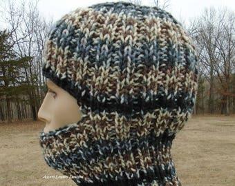 Striped Balaclava, ski mask. Stripes in black, gray, tan and cream. Winter full face overage.