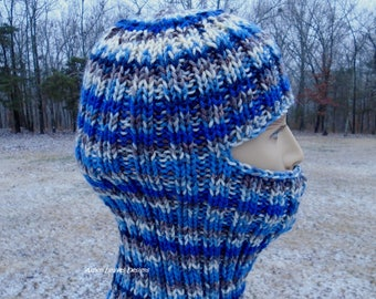 Blue Balaclava, ski mask. Stripes in blue, brown and cream. Winter full face overage.