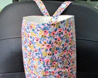 Primavera rose trash bag, Snap closure,  Soft litter bag, 10x8x5, Pink and blue roses on pink fabric