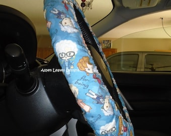 Blue Golden Girls Steering Wheel Cover Fully Lined 80s Ladies TV Show Car Accessory